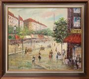 Sale 8682 - Lot 2061 - Artist Unknown -Paris Street Scene, acrylic on board, 46.5 x 61cm, signed lower left