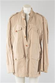 Sale 8740F - Lot 188 - A Nicole Farhi waxed cotton military style jacket with brass-toned buttons, approx size M/L