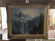 Sale 8824 - Lot 2062 - R, Paul -  Mountain Scene with Majestic Waterfall acrylic, 64 x 74cm, signed