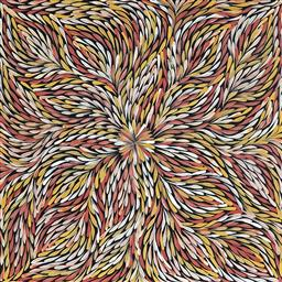 Sale 9098A - Lot 5093 - Janet Golder Kngwarreye (1973 - ) - Yam Leaf 60 x 59 cm (stretched and ready to hang)