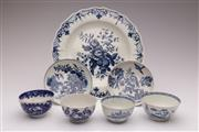 Sale 9044 - Lot 21 - Melange of late c.18th blue and white porcelains, mostly Worcester, incl. pine cone pattern plate (Dia24.5cm), birds in branches tea...