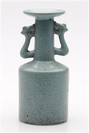 Sale 9057 - Lot 94 - Ru glazed Kinuta Chinese Mallet vase with twin handles, three spur marks to base (H18cm)