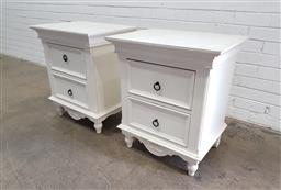 Sale 9121 - Lot 1030 - Pair of painted timber two drawer bedsides (h:70 w:60 d:45cm)