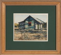 Sale 9125A - Lot 5098 - Heather Bell (1936 - ) - Old Home, Toorale near Bourke 19.5 x 24.5 cm (frame: 42 x 47 x 3 cm)