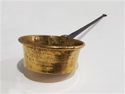 Sale 9142 - Lot 1061 - French Brass Cooking or Roasting Pan, with long forged iron handle (Length: 101 x Diameter: 22cm)