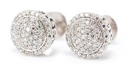 Sale 9246J - Lot 333 - A PAIR OF 14CT WHITE GOLD DIAMOND CLUSTER STUD EARRINGS; each a pave set cluster of single cut diamonds to a border of further singl...