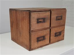 Sale 9255 - Lot 1162 - Timber 4 drawer filling chest (h:37 w:50 d:40cm)