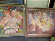 Sale 8513 - Lot 2044 - Artist Unknown (2 works)The Actor; The Feast, oil paintings, 58 x 50cm; 54 x 61cm, signed lower (1)