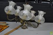 Sale 8548 - Lot 2403 - Brass Hanging Light Fitting with Five Glass Shades