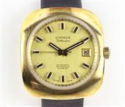 Sale 8644W - Lot 82 - CYPRESS TECHNICIAN AUTOMATIC WRISTWATCH; cushion form gold plated case, brushed golden dial, applied markers, center secobnds, 25 je...
