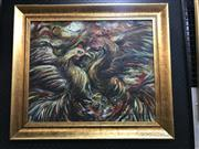 Sale 9024 - Lot 2021 - Balinese School Prized Cock Fighting Birds 1999 acrylic on board 61 x 71cm, signed