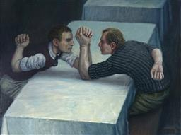Sale 9100 - Lot 501 - Mike Worrell (1942 - ) - The Arm Wrestlers, 2005 90 x 121 cm (frame: 106 x 136 x 4 cm)