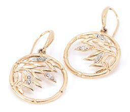 Sale 9169 - Lot 371 - A PAIR OF 9CT GOLD DIAMOND BAMBOO EARRINGS; circle frames featuring leaves set with 12 round brilliant cut diamonds to shepherds hoo...