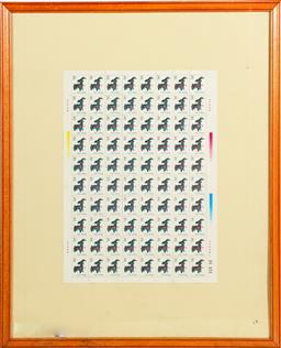 Sale 9253 - Lot 402 - Framed Chinese reproduction facsimile stamps (54cm x 45cm)