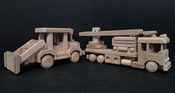 Sale 9254 - Lot 2177 - Timber toy fire truck and escavator by Happy Go Ducky Toy Co