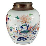 Sale 8000 - Lot 185 - A Chinese Qing Dynasty famille rose jar, possibly with a Dutch brass mount with lock, painted with ho ho bird and peonies.