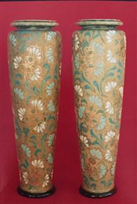 Sale 8160A - Lot 16 - A Pair of Royal Doulton vases, Slaters, 1887-1893 - Rosina Brown, (1879-1901) 31cm