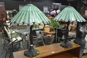 Sale 8175 - Lot 1067 - Pair of Leadlight Shade Table Lamps