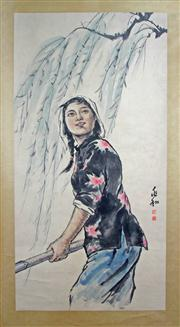 Sale 8221 - Lot 91 - Jiang Zhaohe Signed Lady Hand Painted Watercolour Scroll