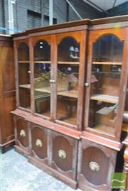 Sale 8326 - Lot 1755 - Breakfront Bookcase w Arched Glass Panel Doors over Cabinet Base