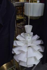 Sale 8346 - Lot 2098 - Origami Hanging Lamp w Art Deco Table Lamp