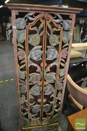 Sale 8386 - Lot 1068 - Rustic Timber Cabinet with Carved Doors Depicting Fish