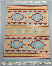Sale 8438K - Lot 61 - Jaipur Veggie Dye Kilim Rug | 150x92cm, Pure Wool, Handwoven in Rajasthan, India with a pure NZ wool composition. Fully reversible d...