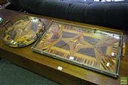 Sale 8532 - Lot 1185 - 2 Inlaid Double Handle Trays