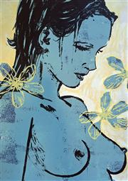 Sale 8567A - Lot 5020 - David Bromley (1960 - ) - Romy with Flowers 112 x 77.6cm
