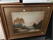 Sale 8563T - Lot 2109 - Percy Campbell - Highland Scene with River, oil on board (AF), 40 x 53cm, initialled lower left