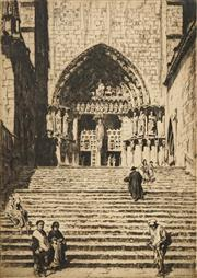 Sale 8592A - Lot 5002 - Lionel Lindsay (1874 - 1961) - Untitled (Cathedral, Spain) 30 x 21cm