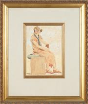 Sale 8759 - Lot 2009 - Artist Unknown - Study of Female Seated, c1920s 26.5 x 19cm