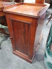 Sale 8814 - Lot 1041 - Victorian Mahogany Bedside Cabinet, with low gallery back, single door & plinth base