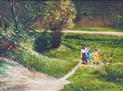 Sale 8947A - Lot 5047 - Dale Marsh (1940 - ) - The Girls By A River, 2001 40 x 50 cm (frame: 52 x 63 x 3 cm)