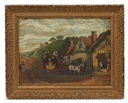 Sale 9190W - Lot 72 - Artist Unknown - English 19th Century - London Carriage outside tavern
