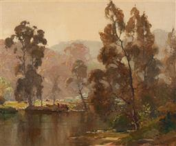 Sale 9125 - Lot 528 - Robert Johnson (1890 - 1964) Fullers Bridge, Lane Cove oil on canvas 36 x 44 cm (frame: 56 x 63 x 4 cm) signed lower right