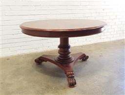 Sale 9126 - Lot 1217 - 19th Century Cedar Sly Supper Table, on turned pedestal with triform base & scrolled feet, the top stamped J Sly, the base adapted...