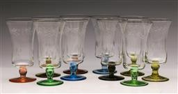 Sale 9131 - Lot 63 - Set of 10 etched coloured base glasses - small chips to rims of some glasses (H:14cm)