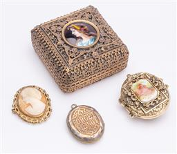 Sale 9180E - Lot 62 - A git metal trinket case together with lockets and brooch