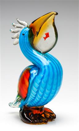Sale 9238 - Lot 12 - An art glass figure of a pelican with a fish in its gill (H:25.5cm)