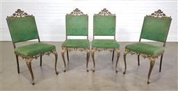 Sale 9255 - Lot 1129 - Set of 4 metal dining chairs with green upholstery (h:98 w:43 d:57cm)