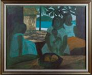 Sale 8308A - Lot 59 - CROOKE, Ray, By the Lagoon, c1978, oil on canvas on board, 61.0 x 76.0 cm
