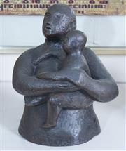 Sale 8800 - Lot 84 - Jan Brown, a bronze sculpture of a mother and child, H 23cm, (Henry Moores principal assistant)