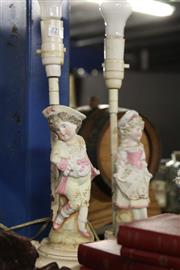 Sale 8327 - Lot 55 - Ceramic Figural Pair of Bedside Lamps