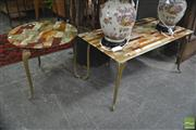 Sale 8338 - Lot 1307 - Brass Base Marble Top Coffee Table with A Circular Example