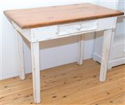 Sale 8380A - Lot 73 - A pine side table with single drawer and painted base, H 75 x W 100 x D 58cm