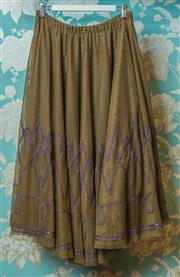 Sale 8420A - Lot 26 - A Von Troska olive green tulle swing skirt with beaded trim hemline, size open: 10-14, condition: very good