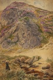 Sale 8682 - Lot 2033 - Artist Unknown (C19th) - Untitled, c1890 (Figure in Landscape), 43 x 29cm