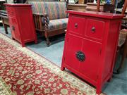 Sale 8700 - Lot 1070 - Pair of Oriental Style Side Cabinets with Two Drawers & Doors