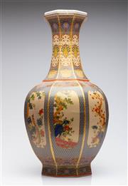Sale 9040 - Lot 69 - A Large Polychrome Chinese Vases Featuring Panels Of Flowers And Birds H: 58cm